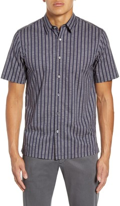 Theory Irving Adder Slim Fit Print Short Sleeve Button-Up Shirt