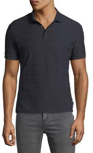 Emporio Armani Men's Tonal Grid-Pattern Polo Shirt