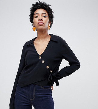 Asos Tall ASOS DESIGN Tall wrap top with asymmetric button detail and long sleeves