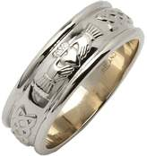 Fado Ladies 14k White Gold Wide Rounded Claddagh Wedding Ring Size 8