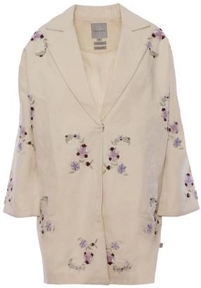 Imaima Naia Hand-Embroidered Coat In Cream