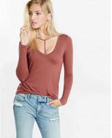 Express one eleven long sleeve choker tee