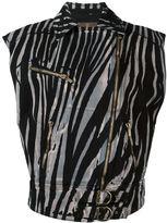 Roberto Cavalli zebra print biker jacket - women - Cotton - 38
