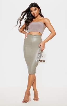 PrettyLittleThing Eva Taupe Faux Leather Panel Midi Skirt