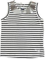 Simonetta Metallic Collar Striped Jersey Tank Top