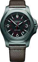 Victorinox 241778 I.n.o.x Date Leather Strap Watch, Brown/black