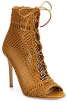 Gianvito Rossi Marnie Woven Leather Lace-Up Booties