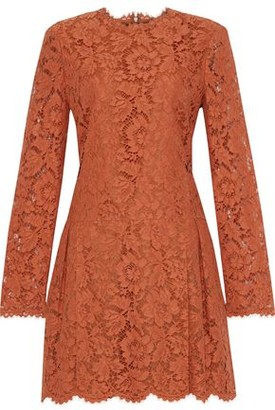 Valentino Pleated Cotton-blend Corded Lace Mini Dress