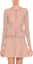 Valentino Long-Sleeve Belted Lace-Front Cardigan, Skin