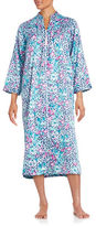 Miss Elaine Floral and Leopard-Print Charmeuse Duster Robe