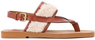 Chloé Woody flat faux-shearling sandals