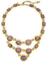 Kenneth Jay Lane Satin Gold/Crystal/Pink Opal Cabs Bib Necklace