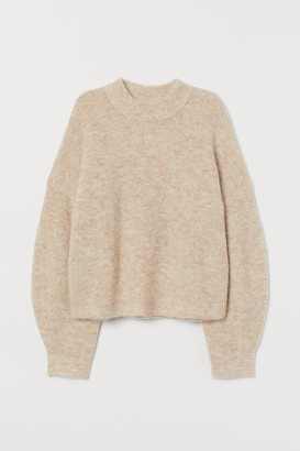 H&M Rib-knit Wool-blend Sweater - Beige