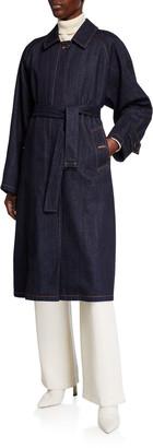 Moncler Pistache Long Denim Trench Coat