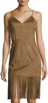 Tularosa Lucky Faux-Suede Fringed Dress, Camel