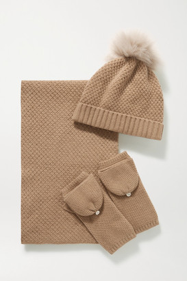 Portolano Faux Fur-trimmed Cashmere Beanie, Gloves And Scarf Set - Camel