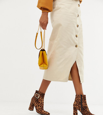New Look buckle detail heeled boot in leopard