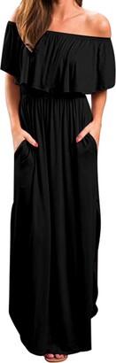 KIDSFORM Women Maxi Dress Short Sleeve Off Shoulders Ruffles Side Split Long Dress with Pockets Black Size L/UK 14