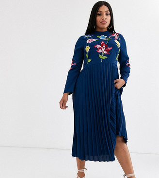 Asos DESIGN Curve pleated embroidered midi dress