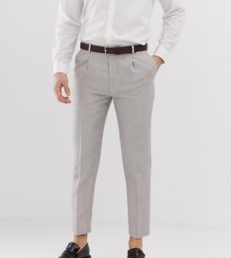 Heart N Dagger skinny fit cropped pleated pants in linen
