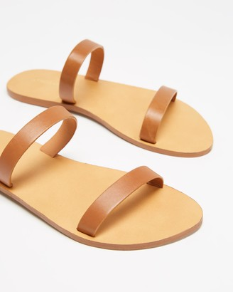 Atmos & Here Atmos&Here - Women's Brown Flat Sandals - Rebecca Leather Slides - Size 6 at The Iconic