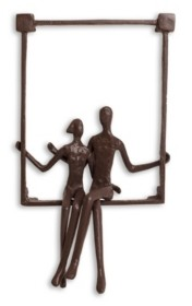 Danya B Couple Sitting on a Window Seal Iron Wall Piece