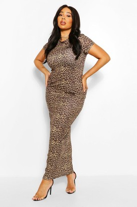 boohoo Plus Leopard Cap Sleeve Maxi Dress