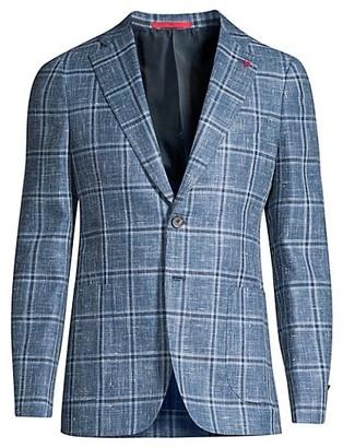 Isaia Plaid Hopsack Wool Sportcoat
