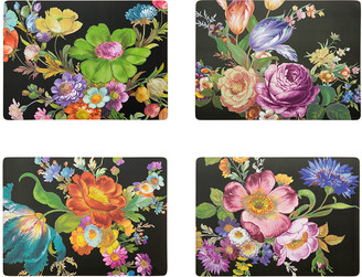 Mackenzie Childs MacKenzie-Childs - Flower Market Cork Back Placemats - Set of 4 - Black