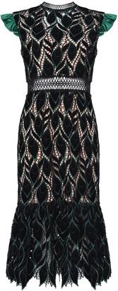 True Decadence Black Green Cut Work Velvet Midi Dress