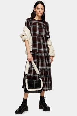 Topshop Womens Burgundy Check Chuck On Midi Dress - Burgundy