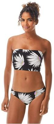 Kate Spade Falling Flower Cropped Bandeau Bikini Top (Black) Women's Swimwear
