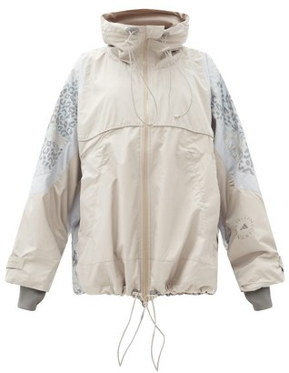 adidas by Stella McCartney Leopard-print Hooded Shell Windbreaker Jacket - Light Grey