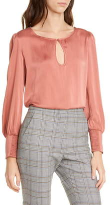 Rebecca Taylor Tailored by Long Sleeve Silk Charmeuse Blouse