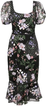 Marchesa Notte 3D Floral Embroidered Cocktail Dress