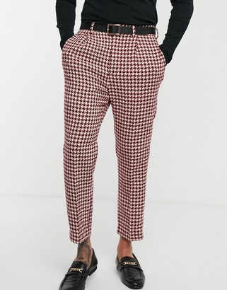 Asos Design DESIGN wedding tapered suit pants with large houndstooth in burgundy wool blend