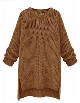 Goodnight Macaroon 'Julie' Crewneck Knitted Long Sweater (4 Colors)