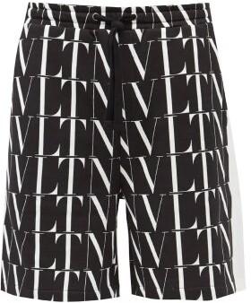 Valentino Logo-print Cotton-blend Jersey Shorts - Black White