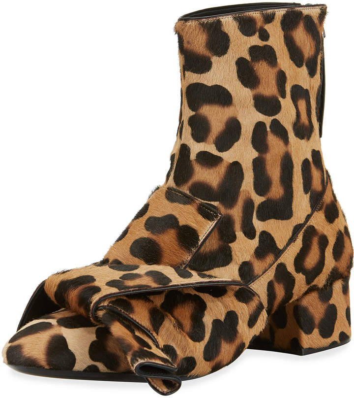 No.21 No. 21 Leopard-Print Calf Hair Bow Boots
