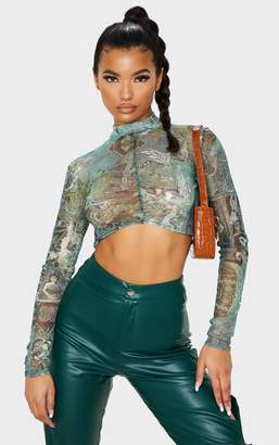 PrettyLittleThing Green Oriental Printed Mesh Ruched Long Sleeve Crop Top