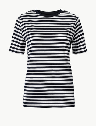 Marks and Spencer Pure Cotton Striped Straight Fit T-Shirt