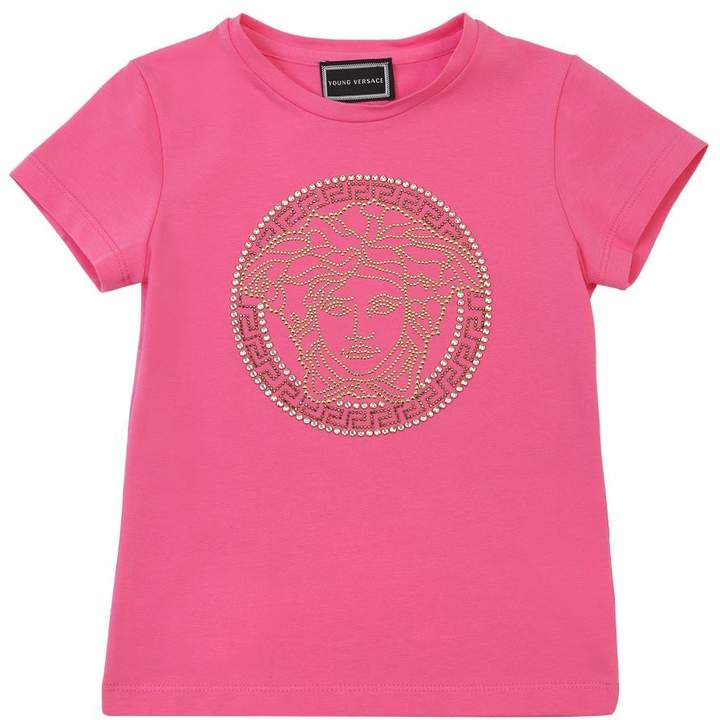 Versace Embellished Medusa Cotton Jersey T-Shirt