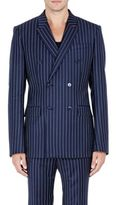 Givenchy MEN'S PINSTRIPED TWILL DOUBLE-BREASTED SPORTCOAT-NAVY SIZE 48 EU