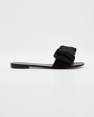 Giuseppe Zanotti Satin Bow Slide Sandals