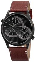 August Steiner Polished Alloy & Leather Watch, 42mm