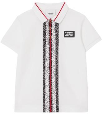 Burberry Logo Print Cotton Pique Polo