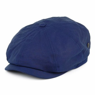 Jaxon & James British Millerain Waxed Cotton Newsboy Cap - Navy Blue Large