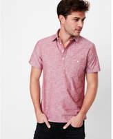 Express slim short sleeve cotton popover shirt
