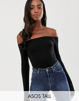 Asos DESIGN Tall off shoulder long sleeve top in black