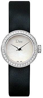 Christian Dior Women's La Mini D de Diamond, Stainless Steel & Satin Strap Watch